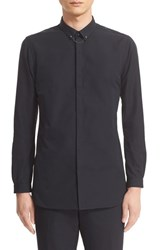 The Kooples Men's Woven Shirt With Skull Collar Chain
