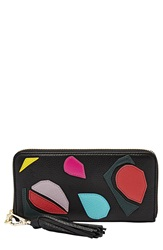 Fossil 'Sydney' Zip Clutch Wallet Black Multi