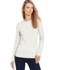 Jm Collection Petite Crew Neck Button Sleeve Sweater Only At Macy's Eggshell