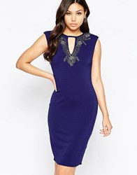 Little Mistress Wiggle Midi Dress With Embellished Neckline Navy