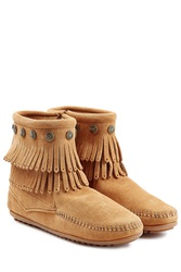 Minnetonka Concho Fringed Suede Ankle Boots With Studs Gr. 8