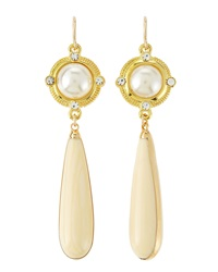 Devon Leigh Shell Pearl Bone Drop Earrings