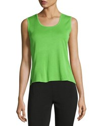 Ming Wang Scoop Neck Knit Short Tank Gra