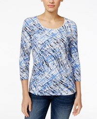 Karen Scott Printed Three Quarter Sleeve T Shirt Only At Macy's Bright Blue