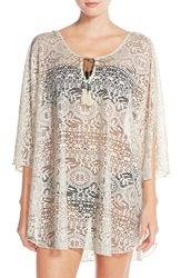 Lucky Brand Crochet Tunic Cover Up Natural