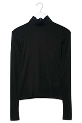 Jersey Roll Neck Top By Boutique Black