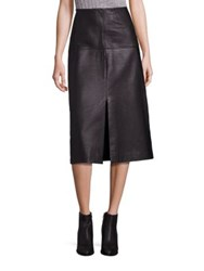 Rebecca Taylor Leather A Line Skirt Black