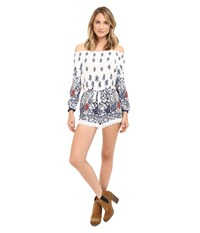 Brigitte Bailey Fatima Off The Shoulder Romper With Crochet Trim White Navy Women's Jumpsuit And Rompers One Piece