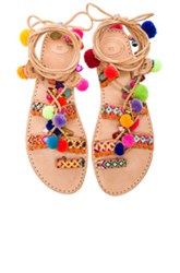 Elina Linardaki Leather Penny Lane Sandals In Neutrals Neon