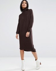 Asos Knit Midi Dress In Recycled Yarn With High Neck Chocolate Brown