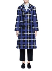 Xu Zhi Threaded Tartan Check Double Breasted Coat Multi Colour