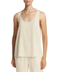Vince Raw Edge Crepe Tank Bleached