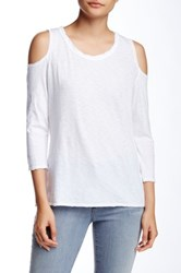 Sundry 3 4 Length Sleeve Cold Shoulder Tee White