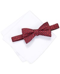 Alfani Men's Venus Geo Pre Tied Bow Tie And Pocket Square Set Only At Macy's Red