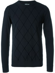 Giorgio Armani Diamond Intarsia Jumper Blue
