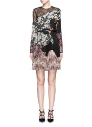 Valentino Garden Party Print Lace Insert Silk Dress Multi Colour