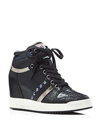 Ash Prince Lace Up Mid Top Wedge Sneakers Black Multi