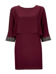 Wallis Port Embellished Cuff Dress Purple