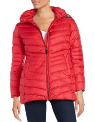 Marc New York Faux Fur Hooded Coat Red