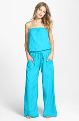 Women's Hard Tail Strapless Shelf Bra Jumpsuit Surf Turquoise