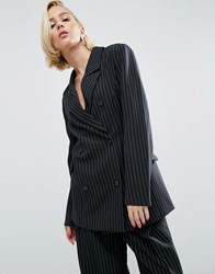 Asos Wah London X Double Breasted Blazer In Pinstripe Black