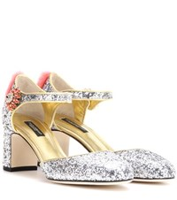 Dolce And Gabbana Mink Fur Trimmed Glitter Pumps Silver