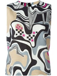 Msgm Abstract Print Tank Top Nude And Neutrals