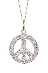 Candela Swarovski Crystal Peace Sign Pendant Necklace Metallic