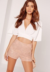 Missguided Tonal Sequin High Waisted Shorts Nude Pink