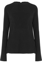 Jason Wu Swiss Dot Lace Paneled Stretch Knit Sweater Black