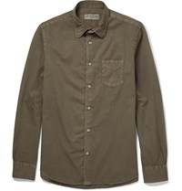Officine Generale Lim Fit Cotton Hirt Green