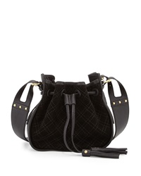 Isabella Fiore Urban Quilted Suede Crossbody Bag Black