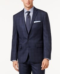 Ryan Seacrest Distinction Men's Slim Fit Blue Flannel Glen Plaid Jacket Only At Macy's