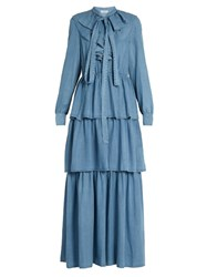 Sonia Rykiel Ruffled Denim Dress Blue