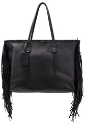 Polo Ralph Lauren Leather Tote With Fringes Black