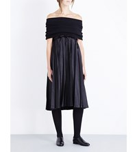 Junya Watanabe Off The Shoulder Knitted And Satin Dress Black X Black