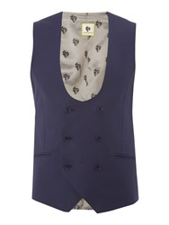 Noose And Monkey Double Breasted Waistcoat Navy