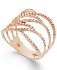 Effy Collection Pave Rose By Effy Diamond Ring In 14K Rose Gold 3 8 Ct. T.W.
