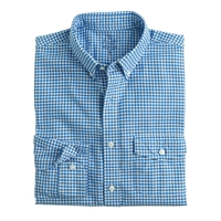 J.Crew Tall Lightweight Vintage Oxford Cloth Shirt In Summertime Gingham Underwater Blue