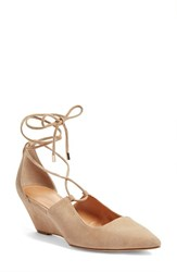 Sigerson Morrison Women's 'Wynne' Lace Up Pump Dark Beige
