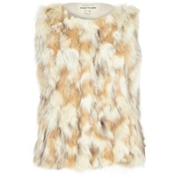 River Island Womens Cream Patchwork Faux Fur Gilet