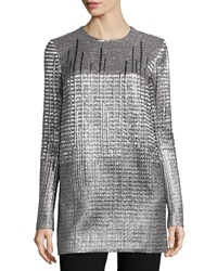Carmen Marc Valvo Long Sleeve Metallic Tunic