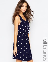 Y.A.S Tall Polka Dot Drawstring Waist Dress Navy Blazer