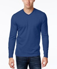 Tasso Elba Men's V Neck Heathered Long Sleeve T Shirt Pompadour Blue