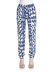 Vince Ikat Print Silk Jogger Pants Ink Off White