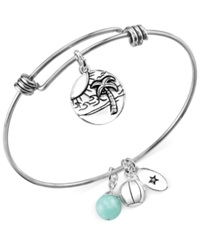 Unwritten Beach Charm And Amazonite 8Mm Adjustable Bangle Bracelet In Stainless Steel