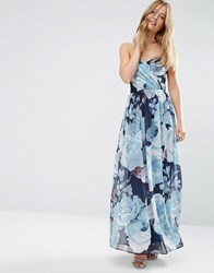 Asos Wedding Chiffon Bandeau Blue Floral Printed Maxi Dress Multi