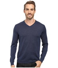 Calvin Klein Merino Moon And Tipped V Neck Sweater Indigo Mouline Men's Sweater Blue