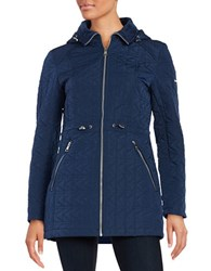 Karl Lagerfeld Faux Fur Trimmed Quilted Walker Coat Navy