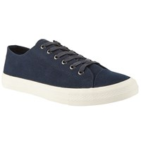 John Lewis Washed Canvas Lace Up Trainers Blue